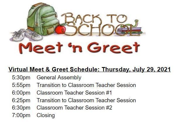July 29, 2021 Gr 1-6 Virtual Meet & Greet