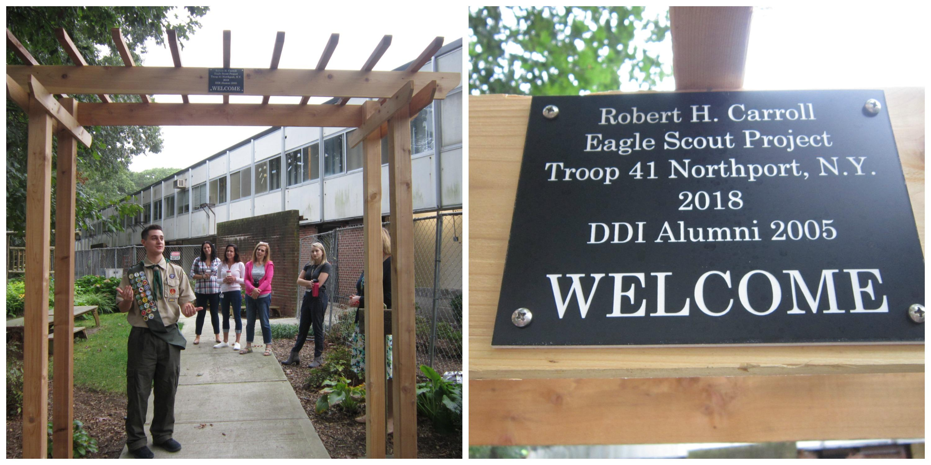 Student with arbor donation/DDI staff/close-up of plaque