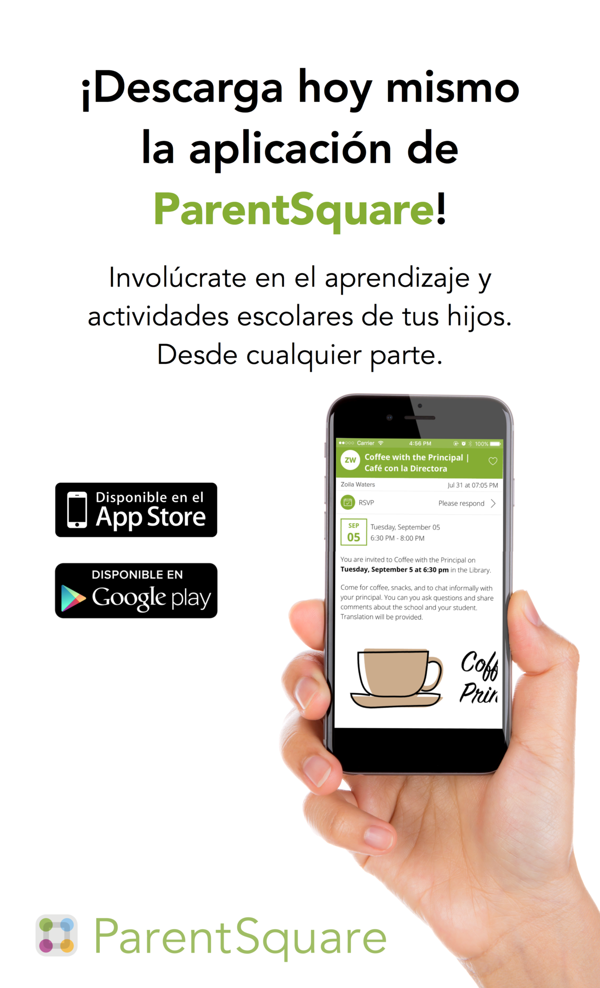 Download the Parent Square App poster Spanish