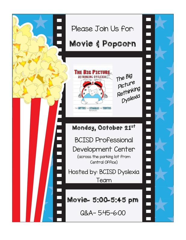 Students and Parents: Please join the BCISD Dyslexia Team for a Movie & Popcorn Night! Thumbnail Image