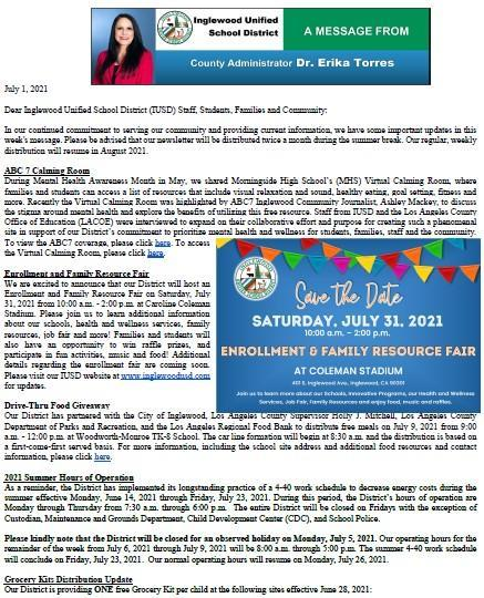 IUSD Communication to Parents, Staff, and Community - 7-1-2021 Featured Photo