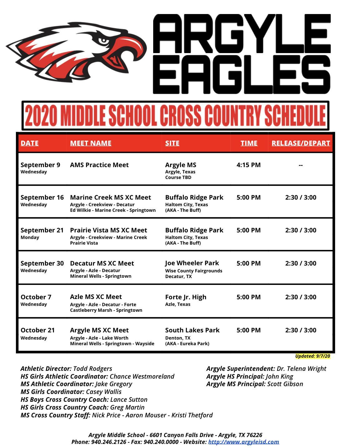 2020 CROSS COUNTRY SCHEDULE - UPDATED 9/7/20