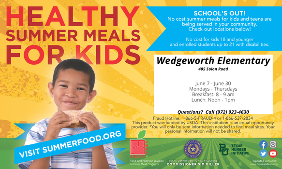 graphic describes free meals from june 7-30 from 8-9 and 12-1 at wedgeworth elementary