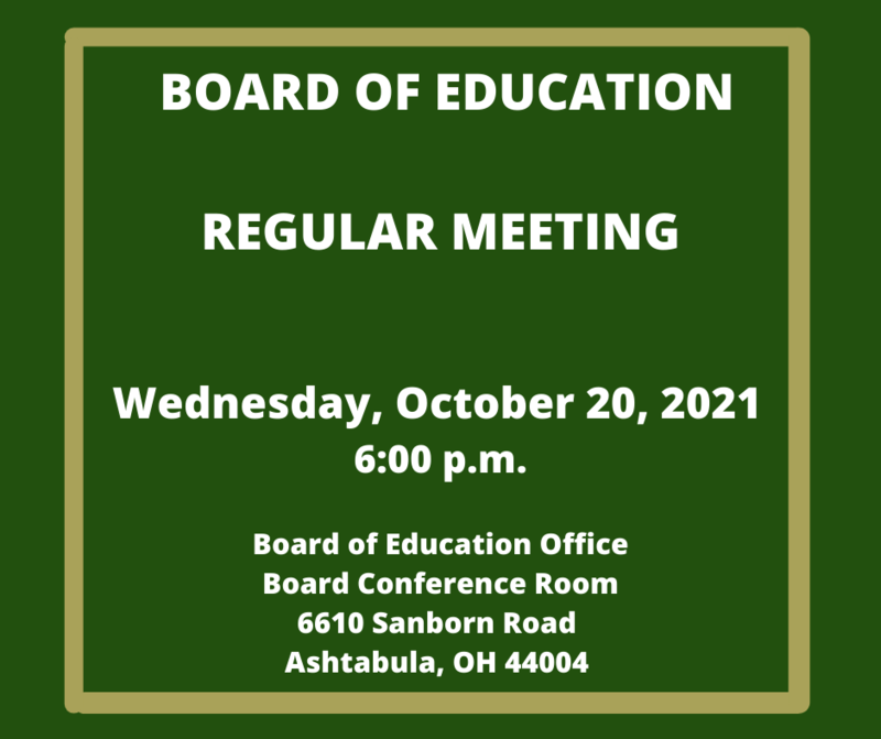 Regular Board of Education Meeting- October 20th 6:00 p.m. Featured Photo