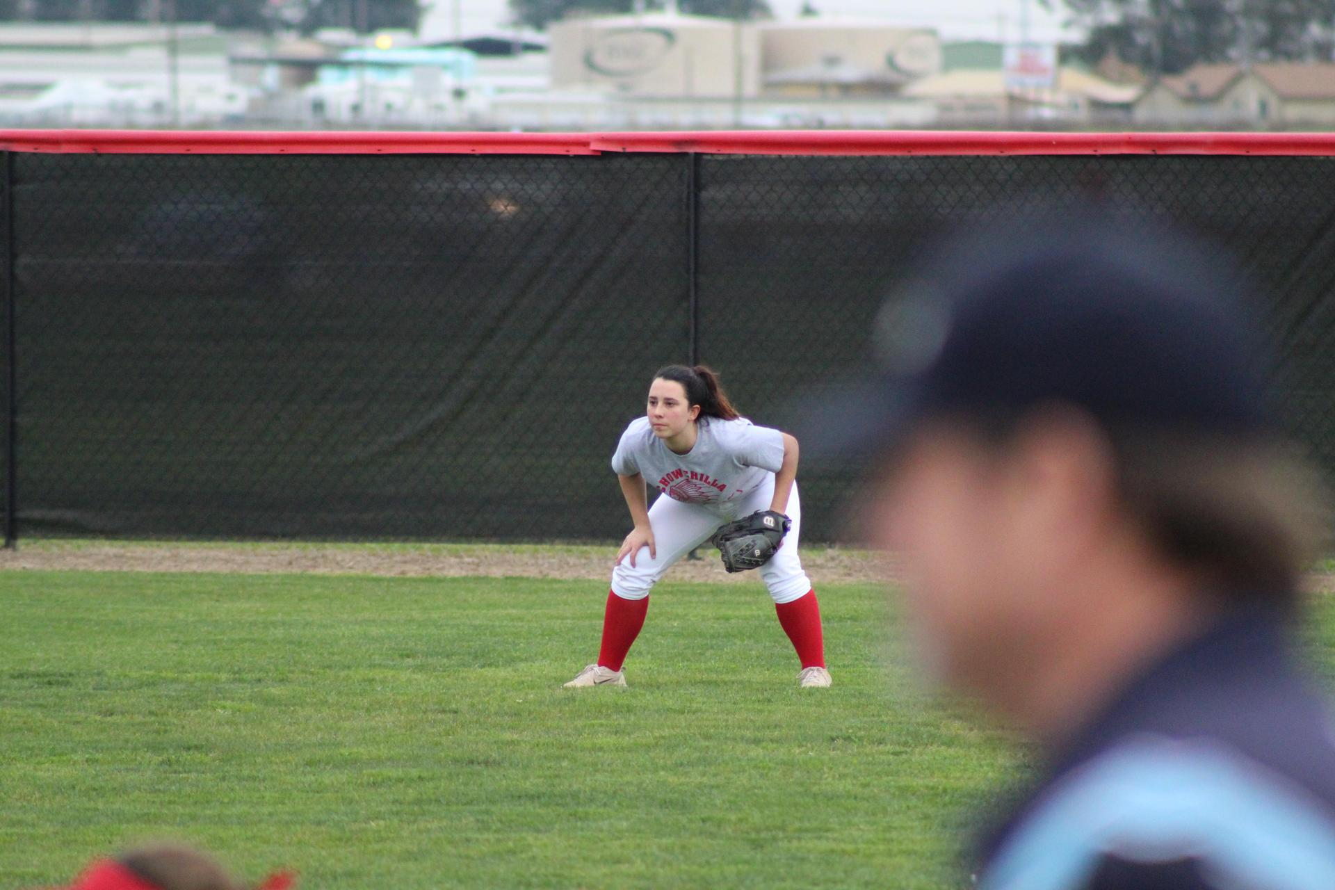 Chowchilla high girls playing softball against Sierra Pacific