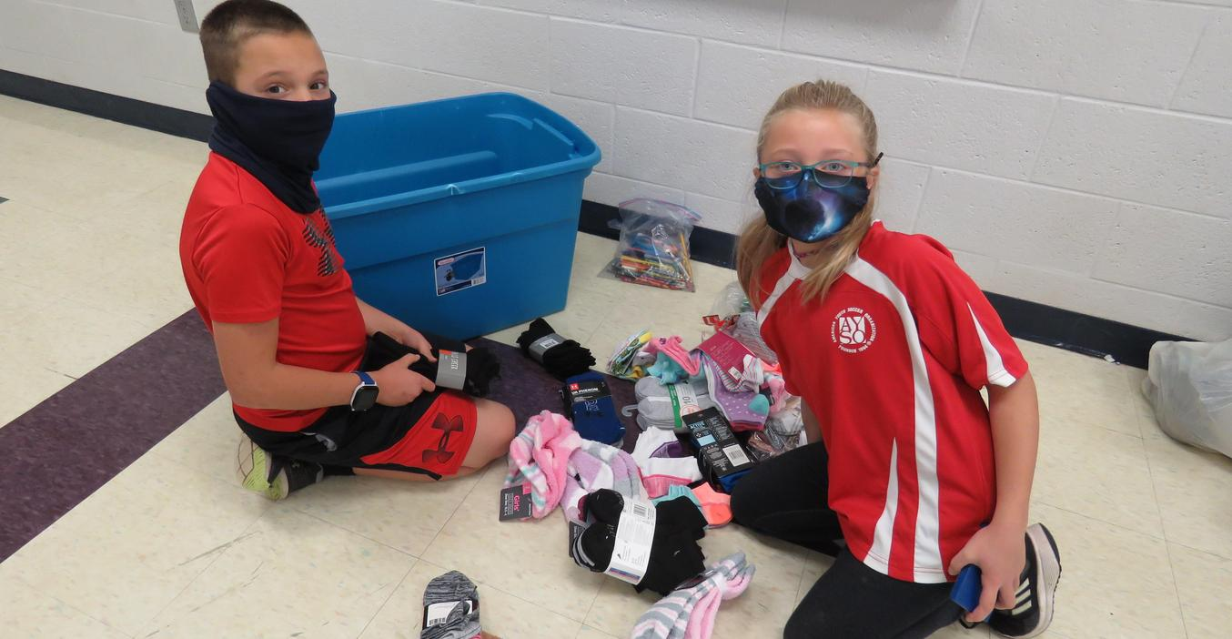 Page students collected socks to donate for homeless people.