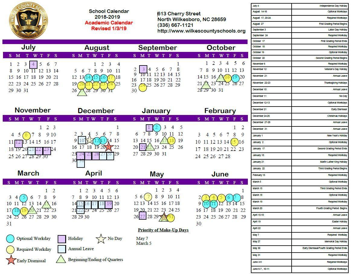 2018-19 Board-Approved Academic Calendar (Revised 1/3/19)