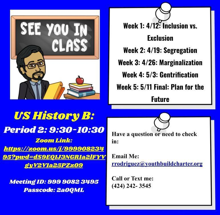 Google Drawing with information regarding my US History B: Gentrification Course
