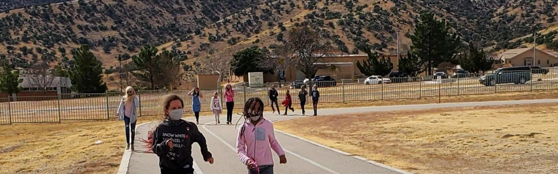 students out on the track