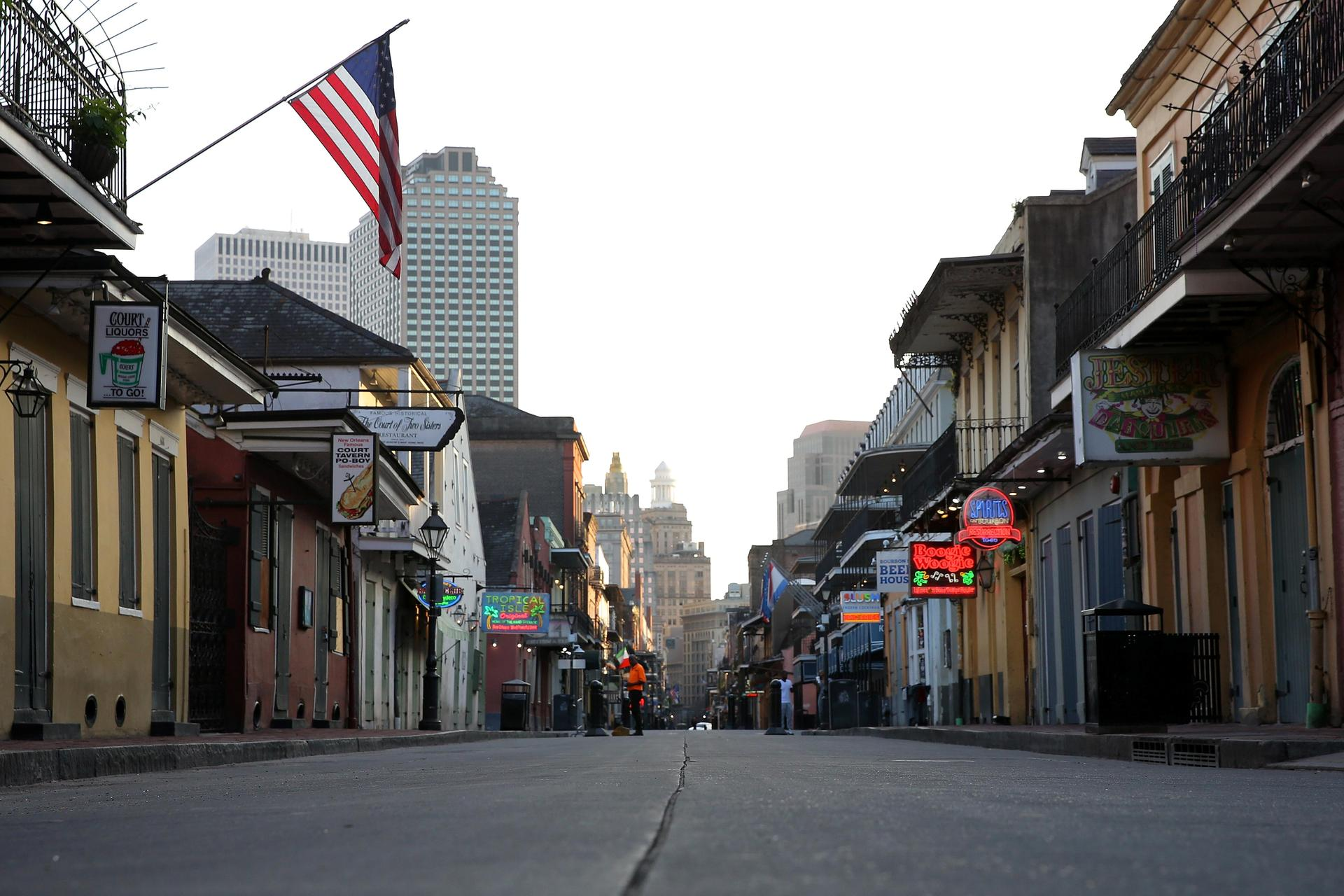 A view of Bourbon Street amid the COVID-19 pandemic in New Orleans, taken on March 25, 2020, by alumnus and award-winning photographer Jonathan Bachman '03. Licensed from REUTERS/Jonathan Bachman. See more of Jonathan's work at jonathanbachmanphotography.com.