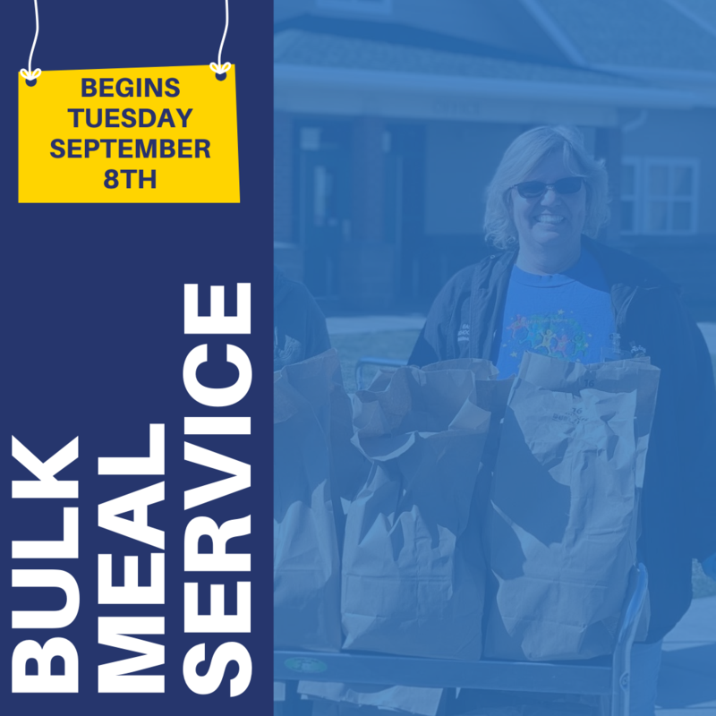 Bulk Meal Service begins on Tuesday September 8th. Graphic in school district logo colors with background image of a food services employee giving out lunches.