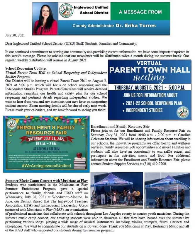 IUSD Communication to Parents, Staff, and Community - 7-30-2021 Featured Photo