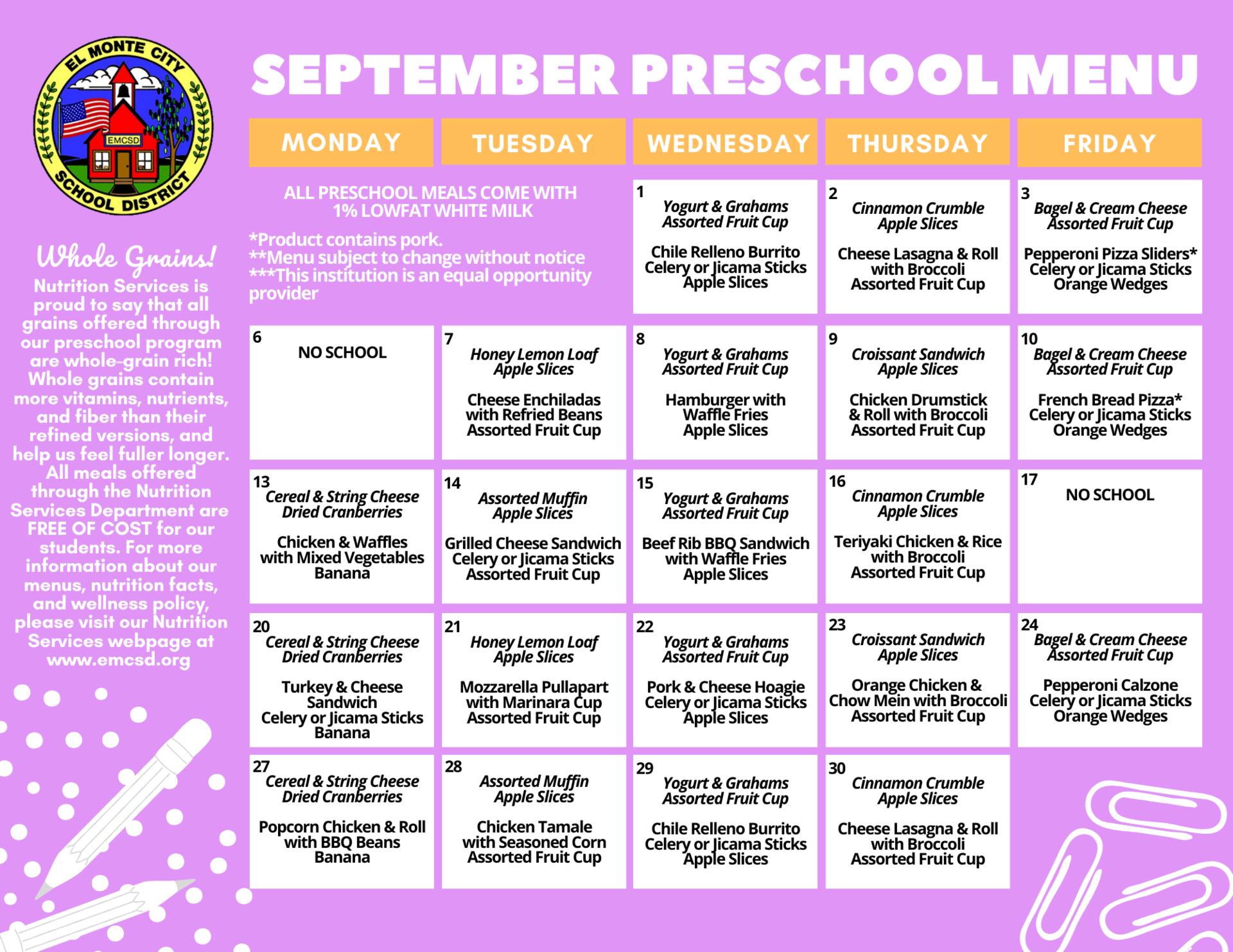 September Preschool Menu