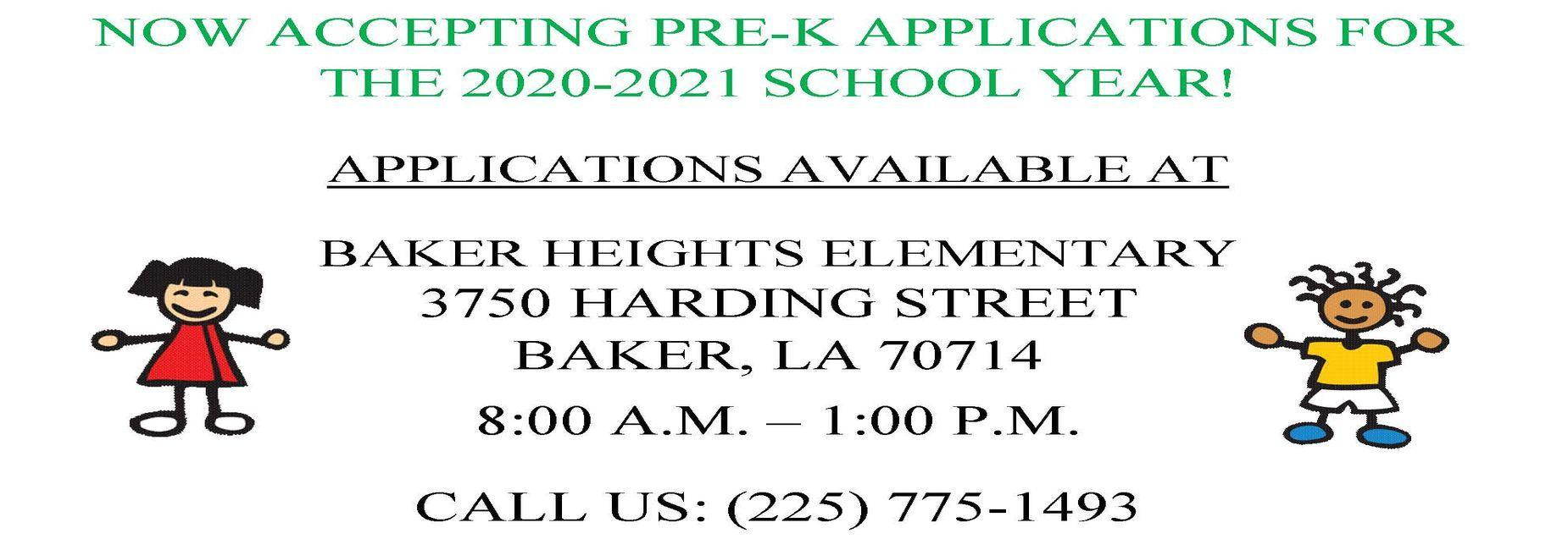 a graphic of a flyer promoting the Pre-K enrollment applications at Baker Heights