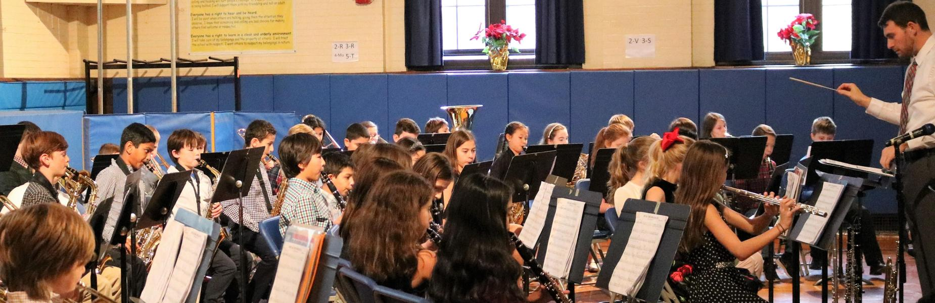 Franklin School band and chorus perform a holiday concert in December 2018.
