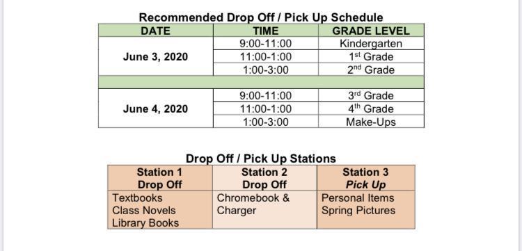 Kindergarten - 4th Grade Schedule