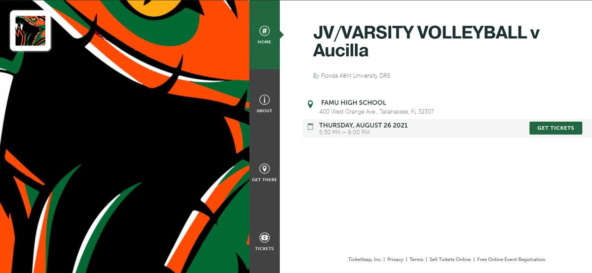 Volleyball v Aucilla Purchase Ticket Graphic