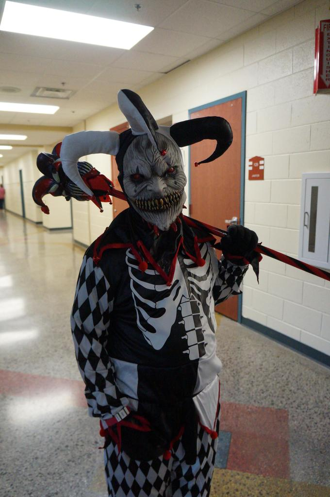 Student in scary Halloween costume at Spooktacular event