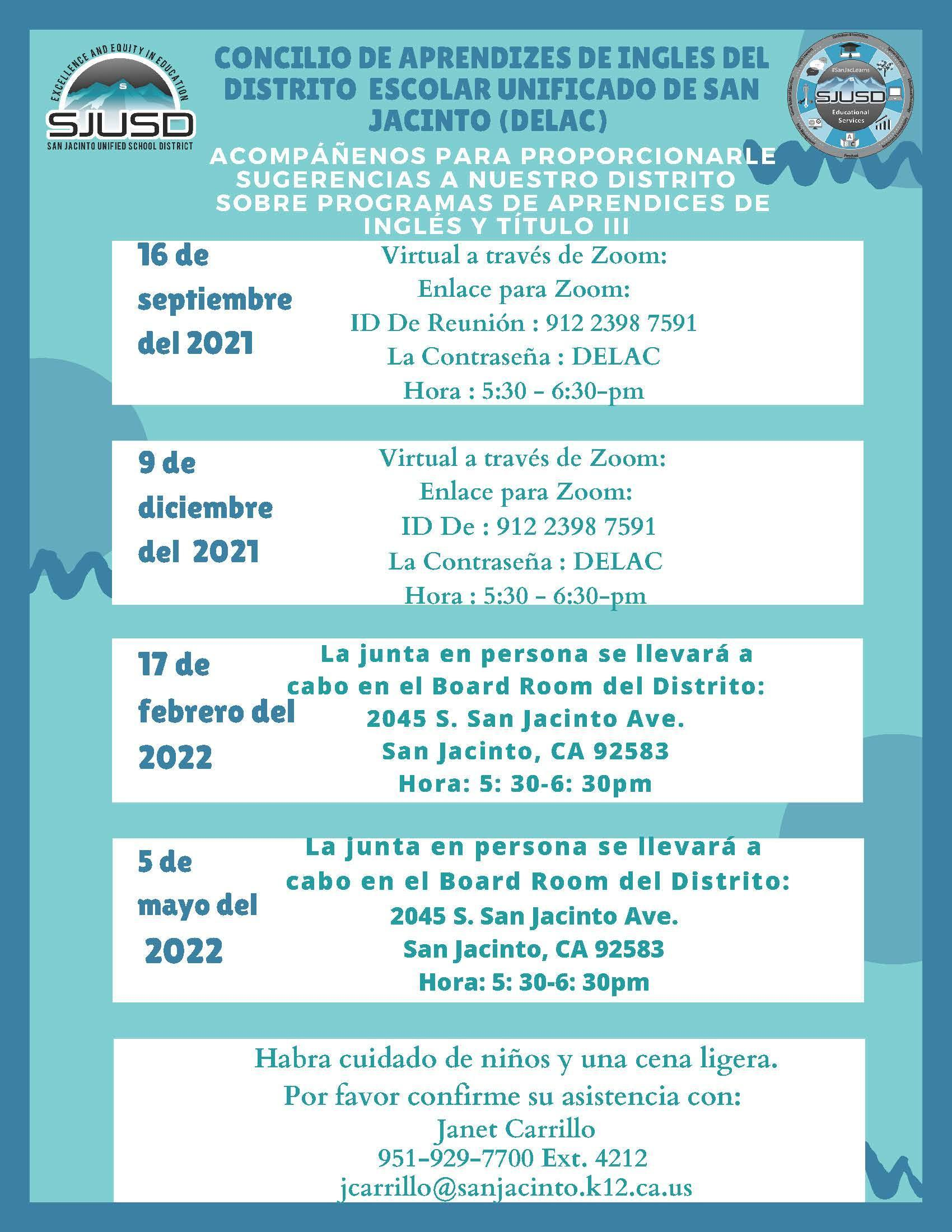 DELAC Flyer with meeting info for 2021-2022 in spanish