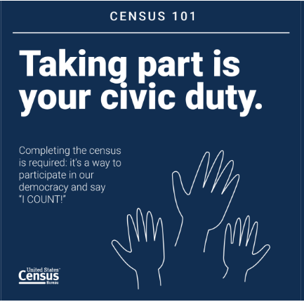 Taking part is your civic duty. Completing the census is required: it's a way to participate in our democracy and say 'I COUNT!'