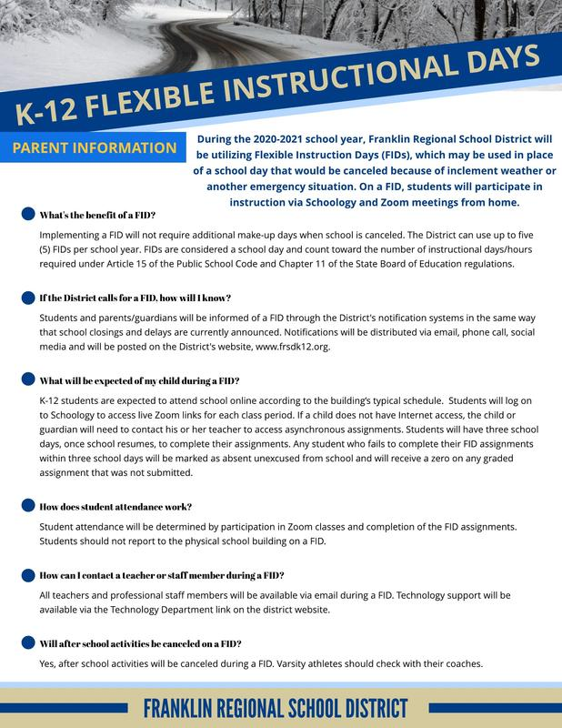 Flex Instructional Days for 2020-21