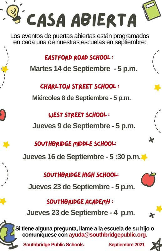 A flyer in Spanish with information about open house events. All wording also appears in the body of the post.