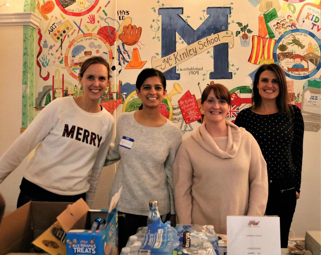 Photo of McKinley PTO parents who organized the well-attended Handmade Holidays afterschool event.