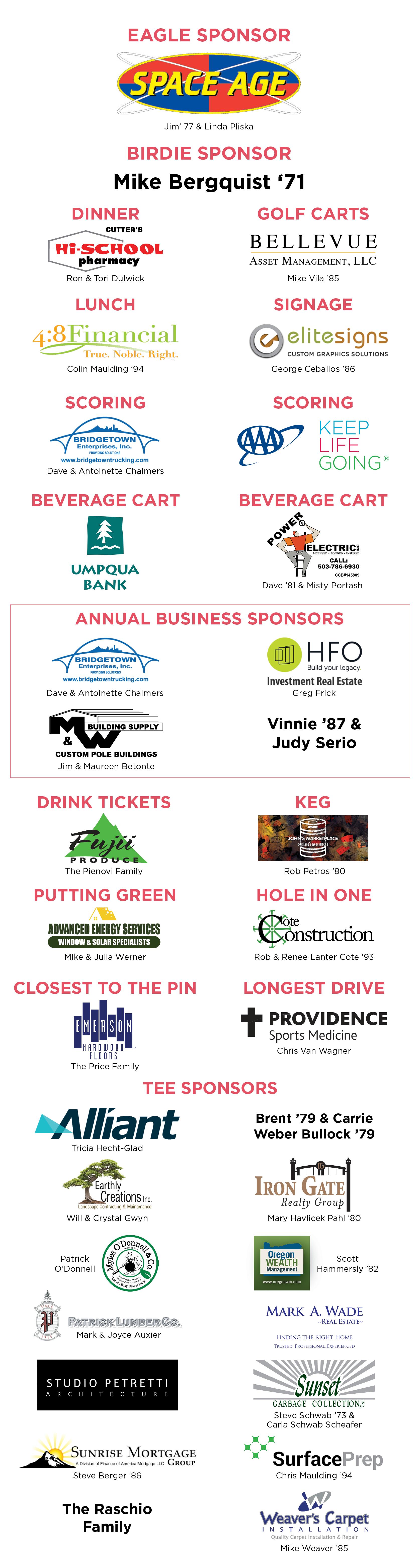 golf tournament sponsor listing