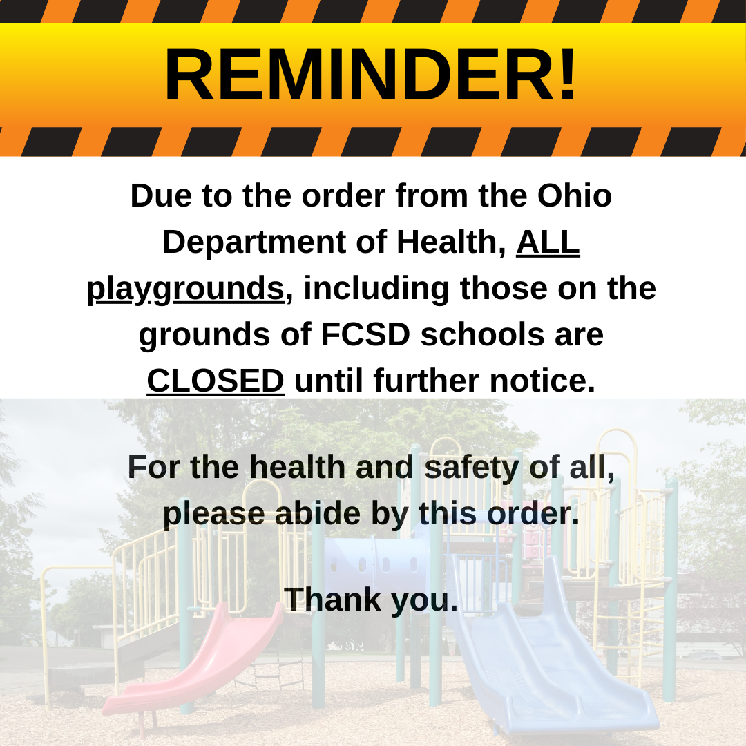 Reminder graphic to parents that playgrounds are closed until further notice due to ODH order