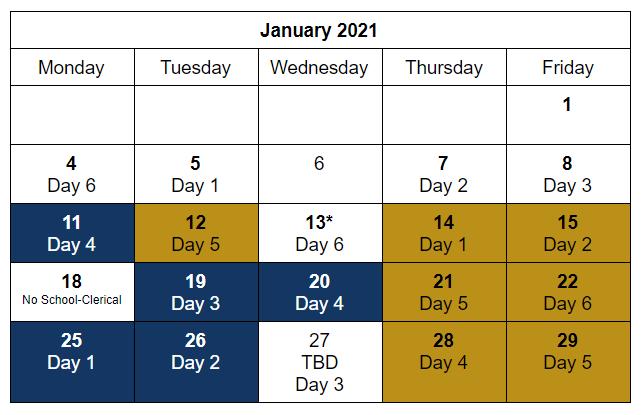 Six Day Cycle Calendar Jan 21