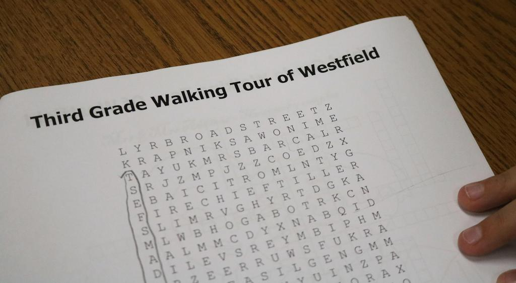 Closeup of Word Search for McKinley 3rd graders during their visit to the public library.