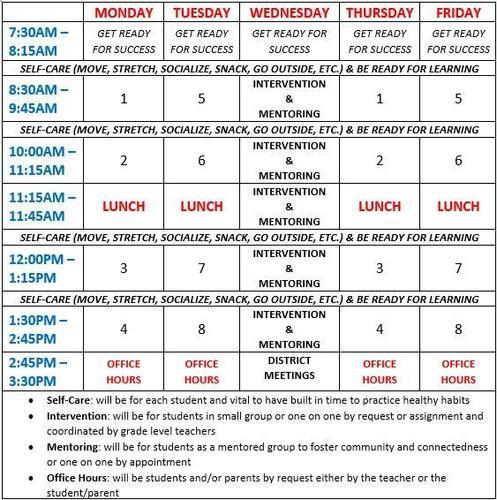 Columbia High School Online Bell Schedule, 2020 - 2021