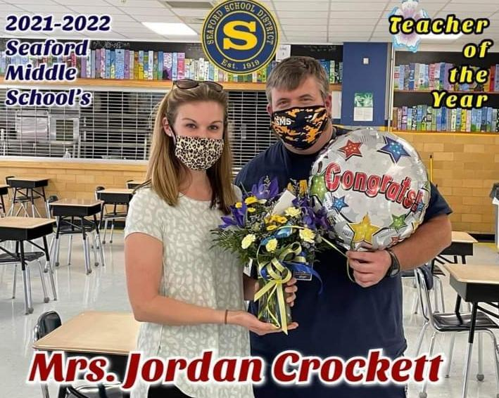JORDAN CROCKETT IS  2022 TEACHER OF THE YEAR AT SMS Featured Photo