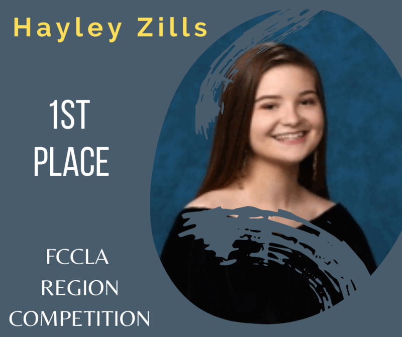 Hayley Zills won 1st place at FCCLA's Region Competition this past weekend and will compete at State next month.  Her project, Interpersonal Communications, focused on closing the communication gap between teachers and students by teaching students how to correctly use email.  Congratulations Hayley!!