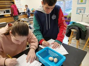 Faced with two eggs, one raw and one hard boiled, students write their predictions as to which one is raw.