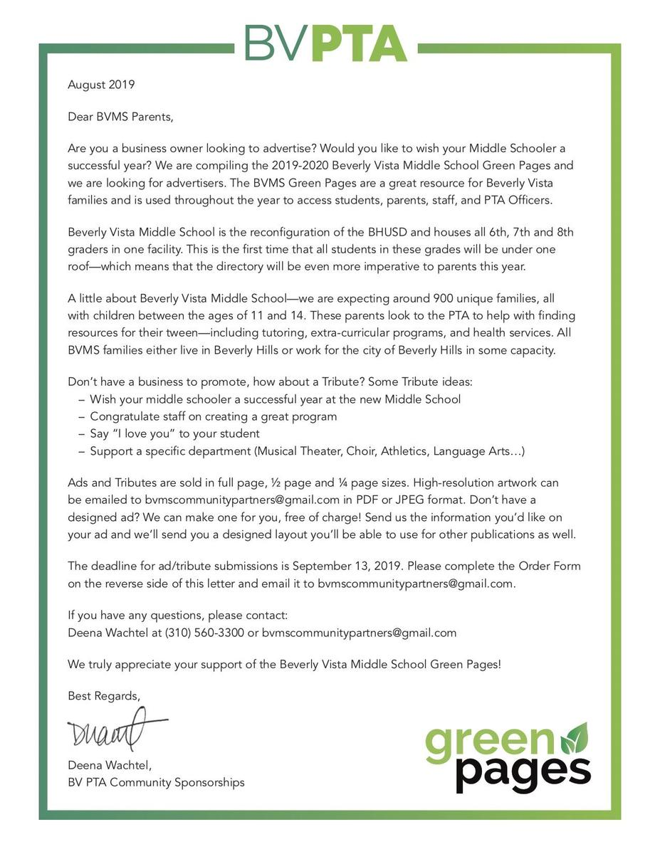 Advertise in Green Pages - Letter to Parents