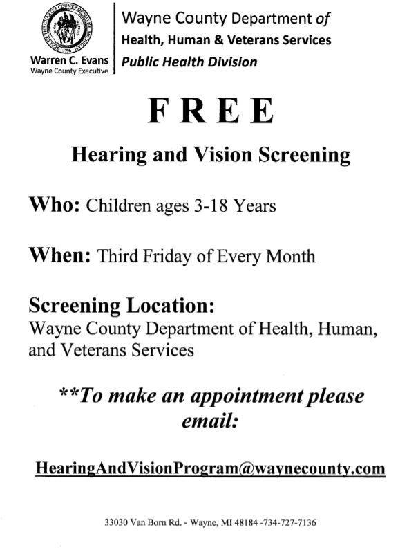 Free Wayne County Hearing and Vision Screenings