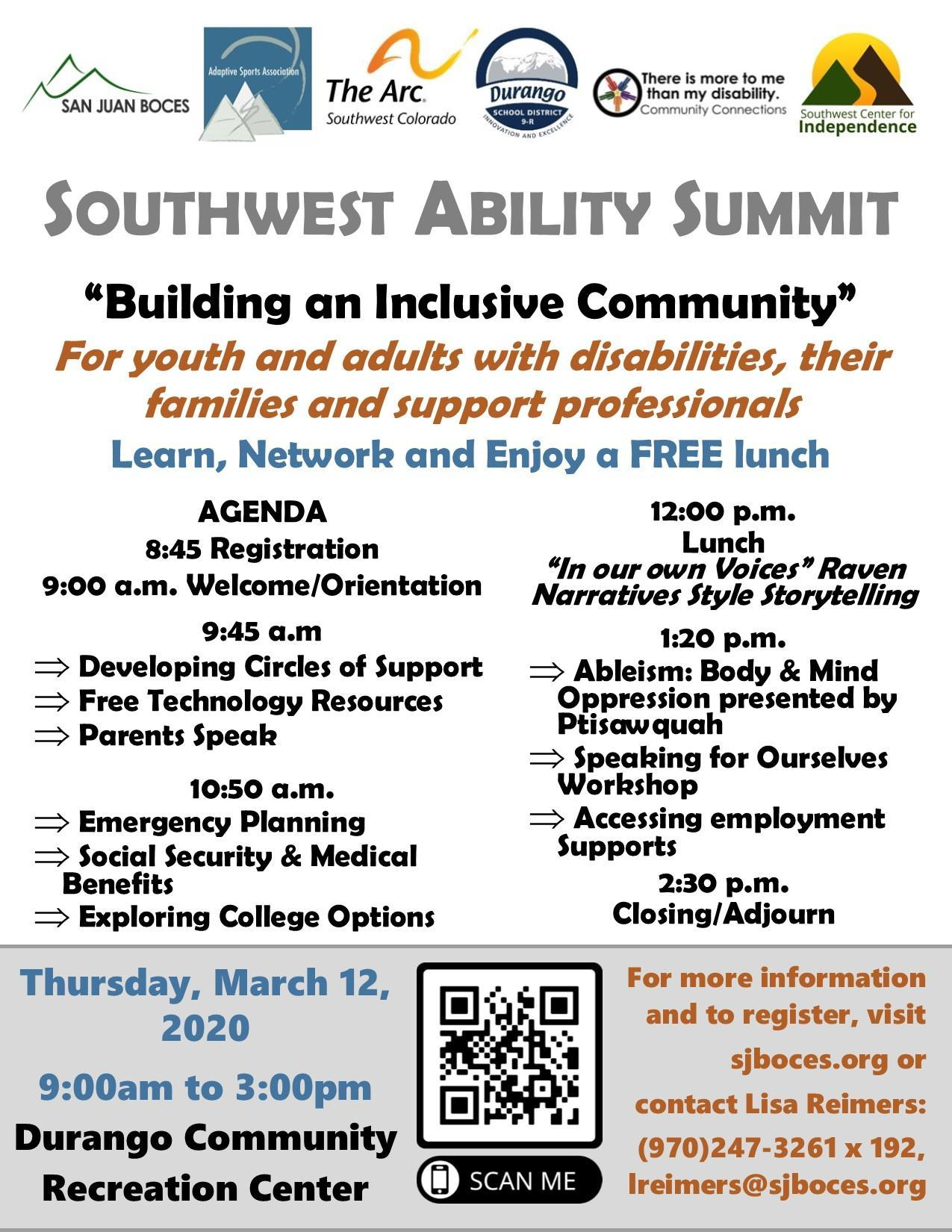 2020 Southwest Ability Summit Event on March 12th from 9:00am-3:00pm at the Durango Community Recreation Center