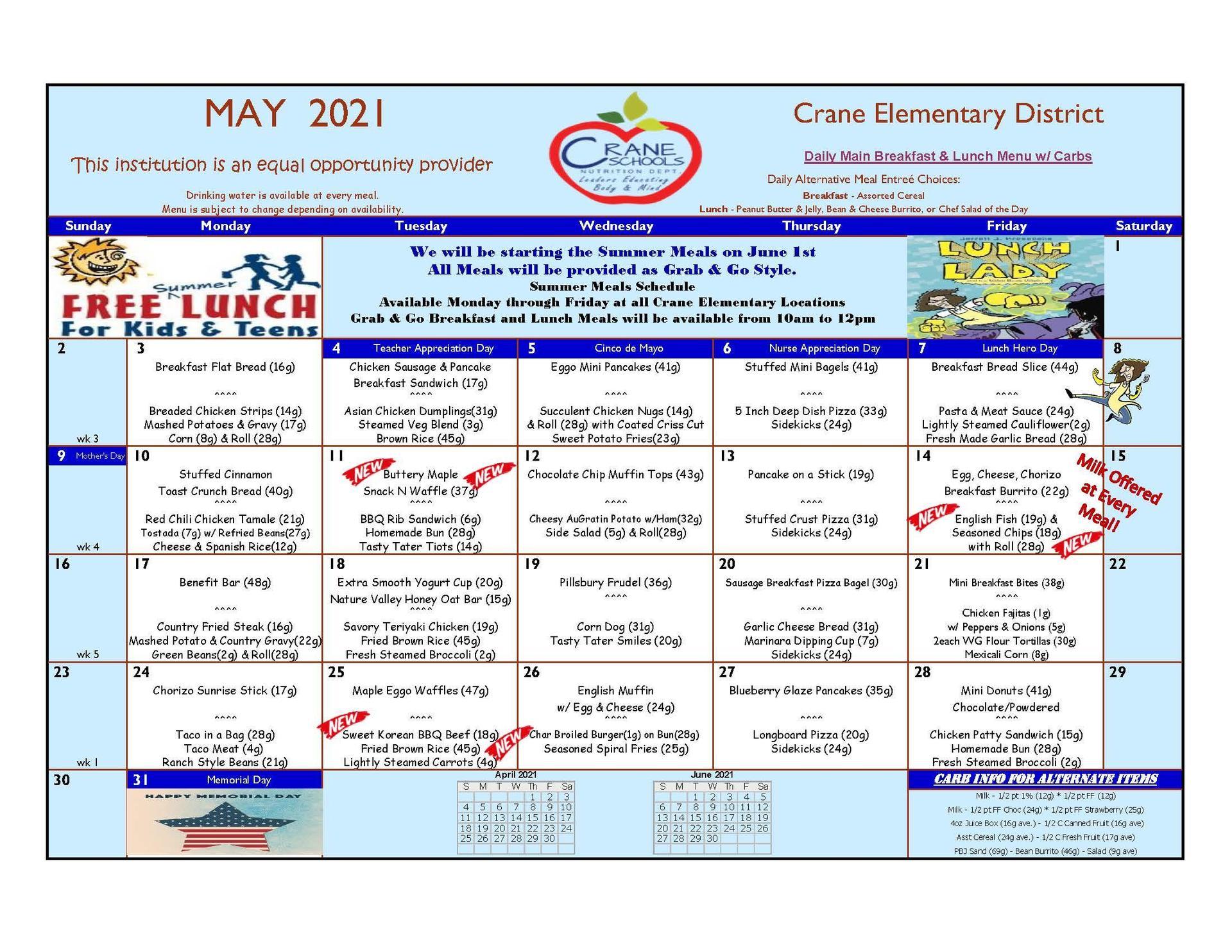 Crane Schools May Poster Menu 2021