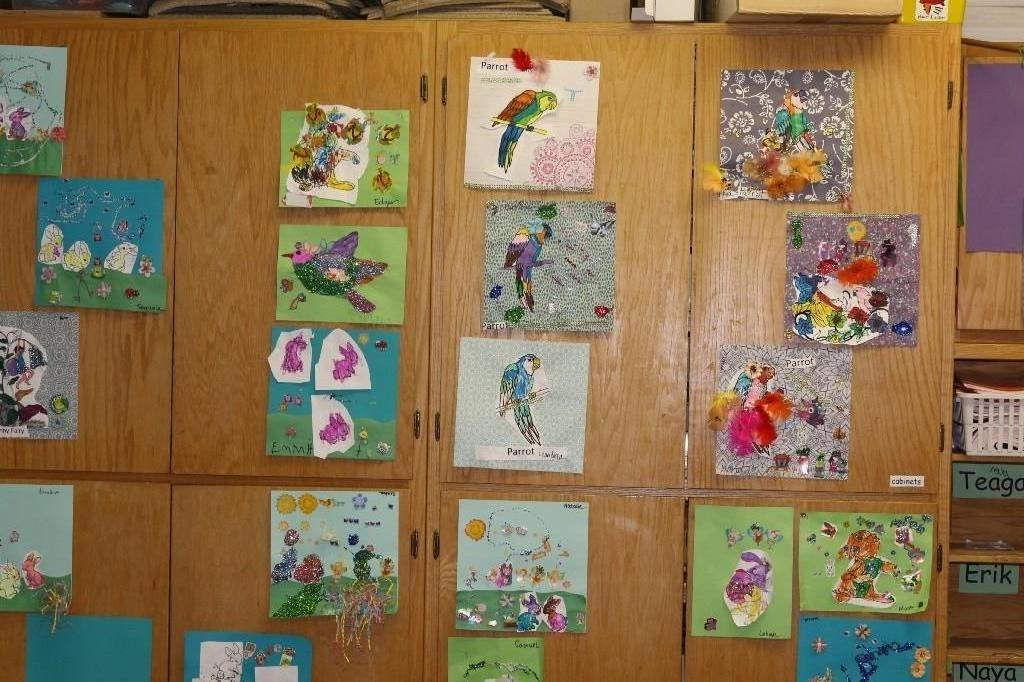 Student artwork being displayed in classroom