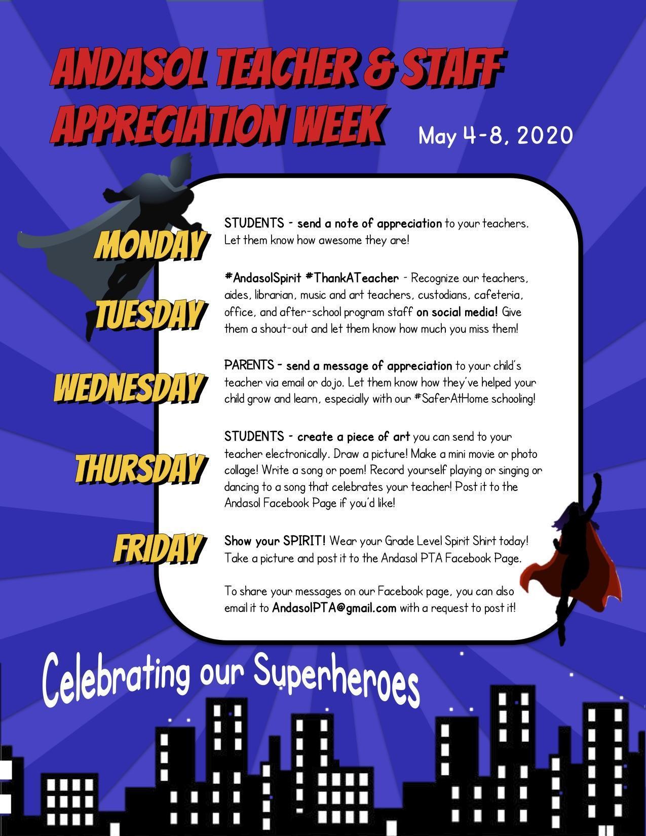 Teacher & Staff Appreciation 2020 Flyer