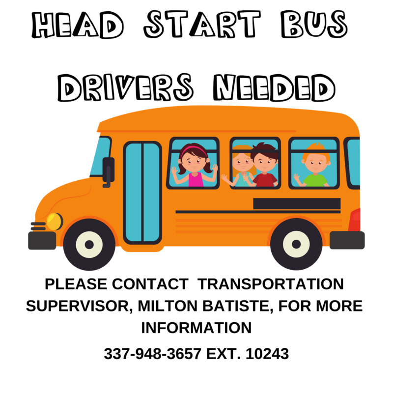 BUS DRIVERS NEEDED FOR HEAD START