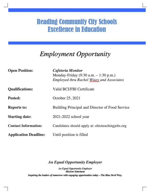 Employment flyer for cafeteria monitor