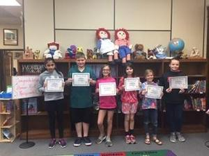Fifth grade students honored at Honor Roll Ceremony.