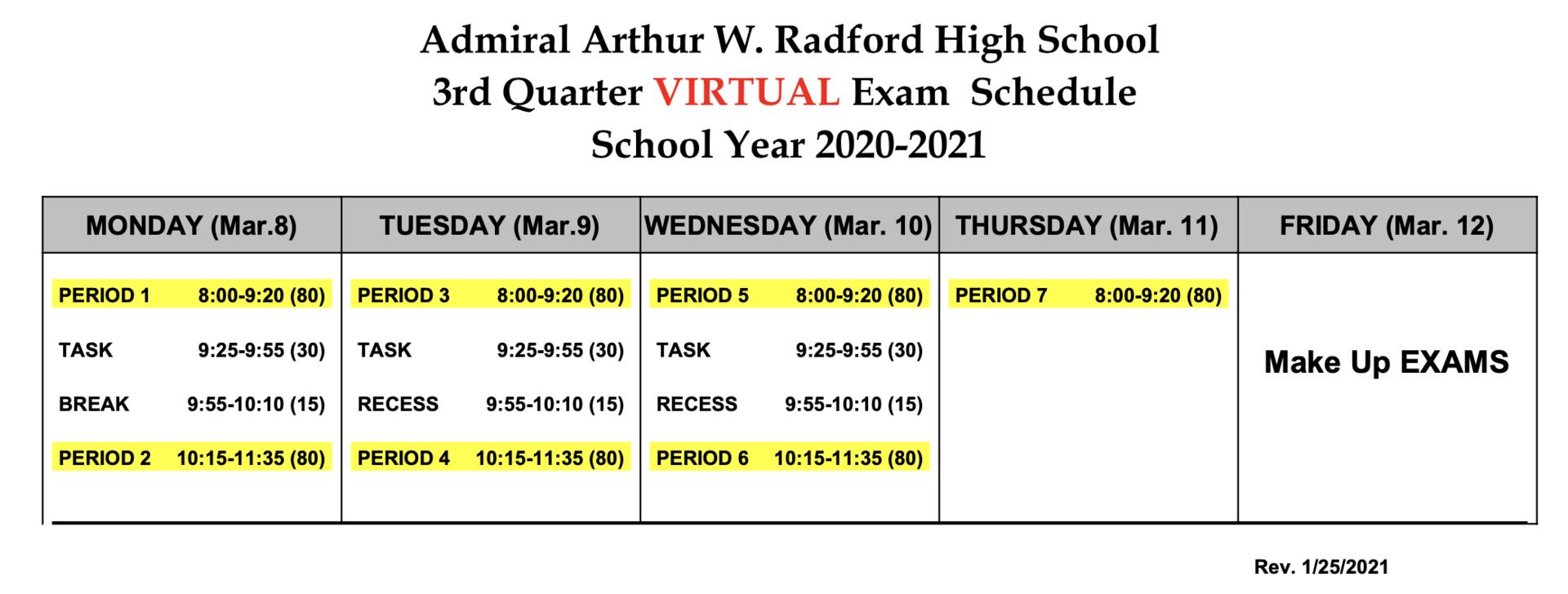 quarter 3 virtual exam schedule