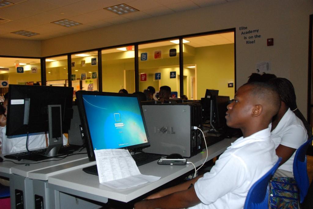 Elite Academy computer lab, first day, 2016-17