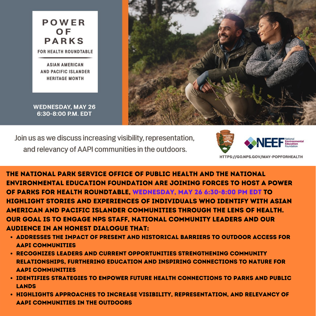 Graphic for National Park Service event, Parks of Power for Health Roundtable. Description below.