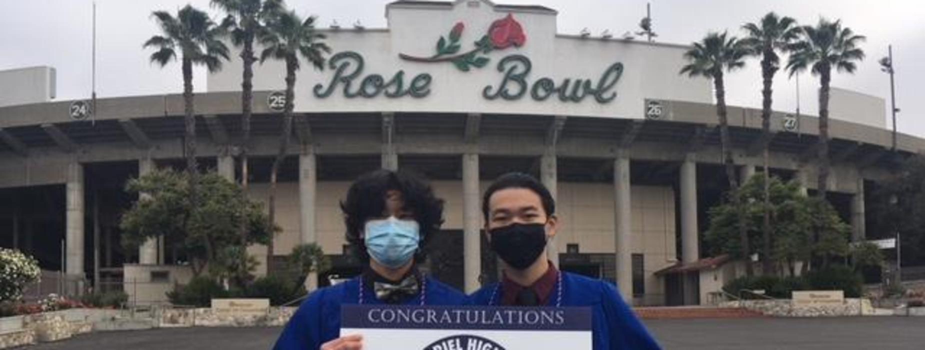 SGHS 2021 Graduates in front of Rose Bowl Stadium