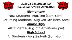 Ballinger ISD Registration Information
