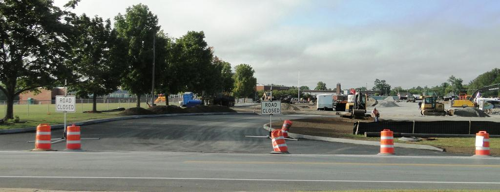 This picture features concrete curbing that is featured August 31, 2018 at the widened campus entrance/exit on Spellman Road.